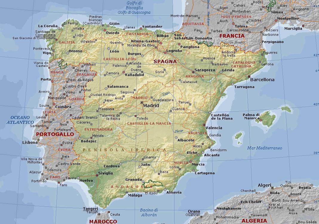 Cartina Politica Spagna E Portogallo.Spagna Cartina Muta Hotel